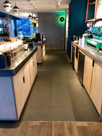 Flooring, Cladding and Tiling fitted to Mokoko Coffee Shop in Plymouth