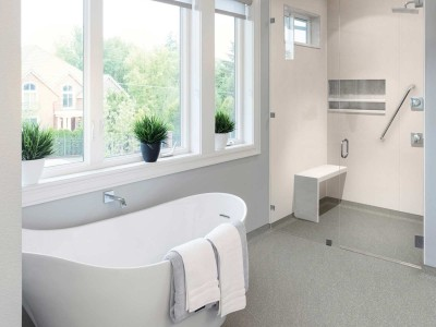 Hygienic Wall and floor covering used in a domestic bathroom