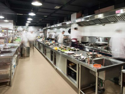 Hygienic Wall and floor covering from Altro used in a commercial kitchen