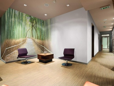 Hygienic Wall coverings for receptions - bespoke designed cladding