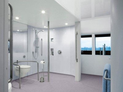 Hygienic Wall and flooring from Altro used in an adapted wet-room