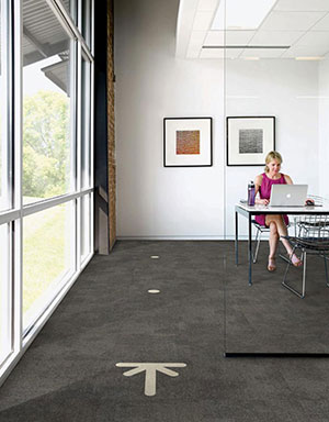 Carpet tiles with floor markings for social distancing