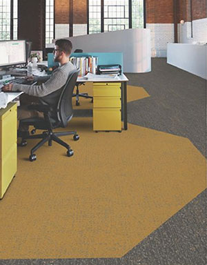 office using stylist tiling to show social distance