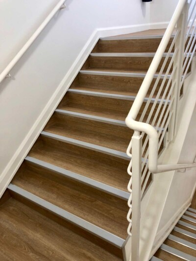 Moduleo Luxury Vinyl flooring on stairs in an Exeter care home