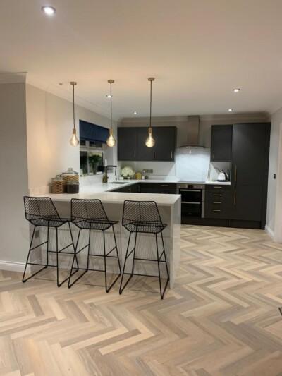 Karndean design flooring laid in a herringbone pattern
