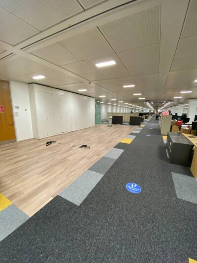 Interface LVT Fitted with carpet tiles to create a seamless finish without threshold