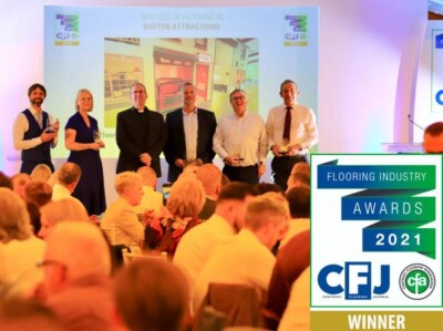 Andy Law Director of Flooring Matters with reps from Heckmondwicke, Polyflor, F Ball and Altro at the CFA Award 2021